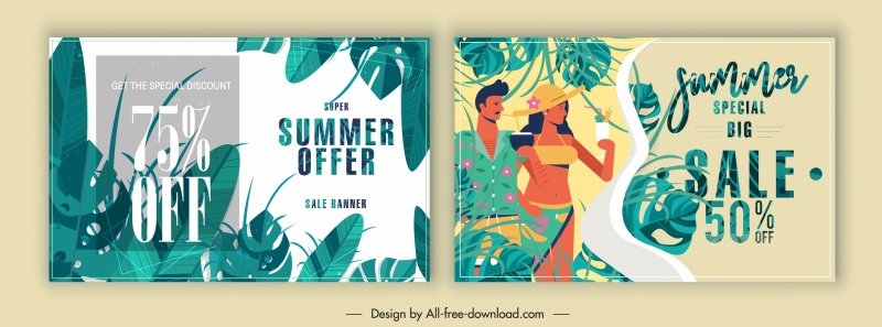 summer sales banners colorful classic leaves tourists decor