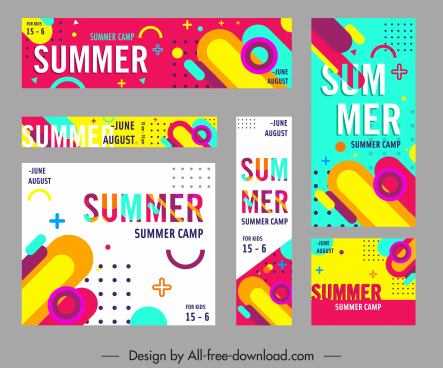 summer sales banners modern colorful geometrical decor