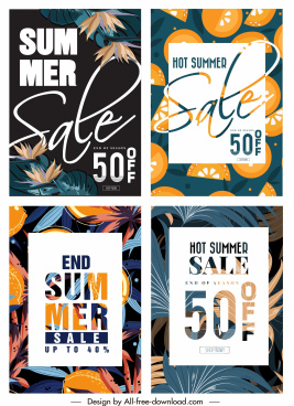 summer sales banners retro plants fruits decor