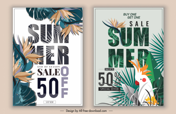 summer sales posters tropical forest elements decor