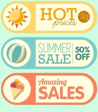 summer sales promotion sticker retro vector