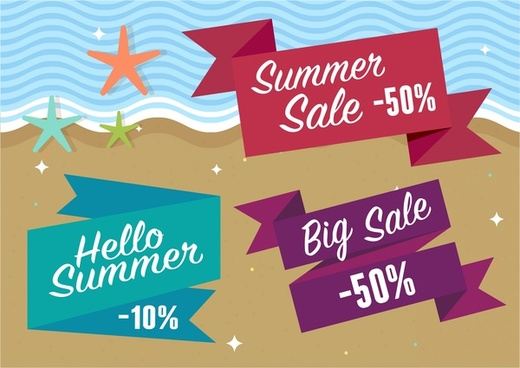 summer sales tags ribbon style on sea background