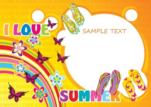 summer banner template colorful butterflies rainbow slippers decor