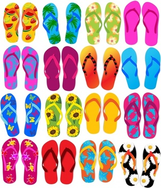 slippers background bright colorful flat design