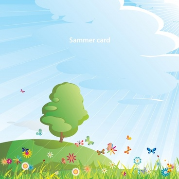 summer scenery cartoon images vector