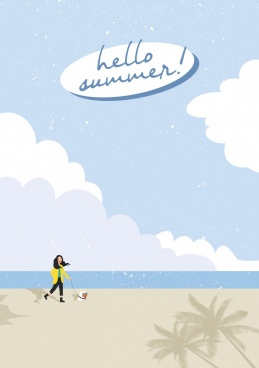 summer sea background walking woman pet icons