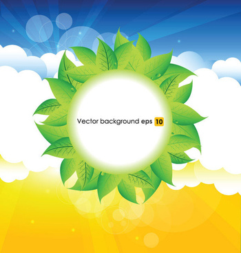 summer sun and green leaves vector background set
