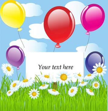 nature background colorful balloons flowers field icons decor
