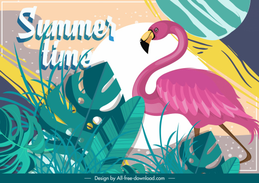 summer time background flamingo leaves decor classical design