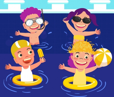summer time background joyful kids swimming pool icons