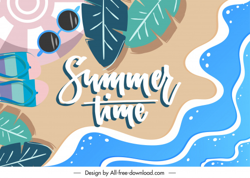 summer time background sea elements sketch flat classic