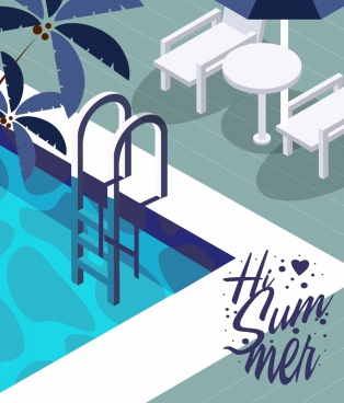 summer time banner 3d design swimming pool icon