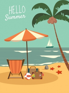 summer time banner beach trip icon classical design