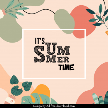 summer time banner colorful classic leaves decor