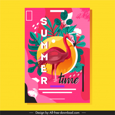 summer time banner flamingo leaves sketch grunge classic