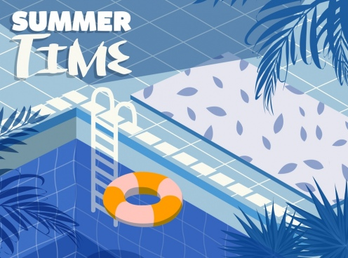 summer time banner swimming pool icon decor