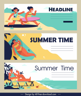 summer time banners relaxing people sketch colorful classic
