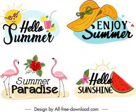 summer time logo templates classical symbols sketch