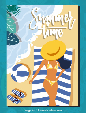 summer time poster bikini girl seaside flat design