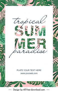 summer time poster leaves texts decor bright classic