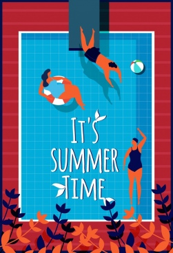 summer time poster swimming pool playful people icons