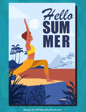 summer time poster template yoga woman sketch carcoon design