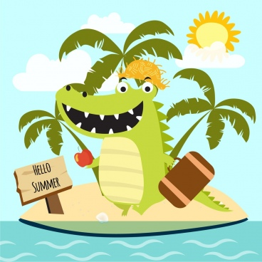 summer tour banner green crocodile icon stylized cartoon