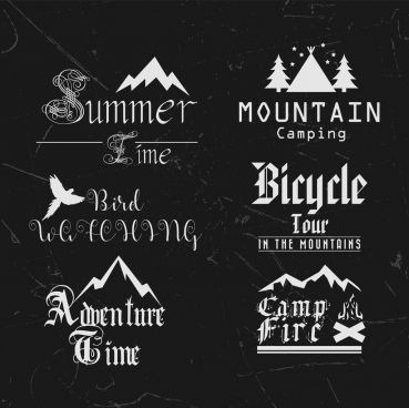 summer tour logotypes collection black white calligraphic decoration