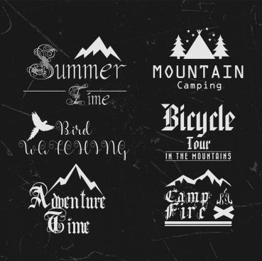 summer tour logotypes collection black white calligraphic decoration