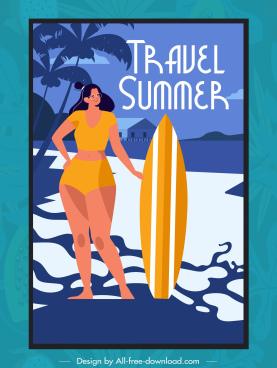 summer travel banner bikini lady surfboard sketch
