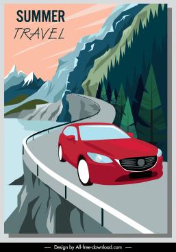 summer travel banner car mountain road sketch