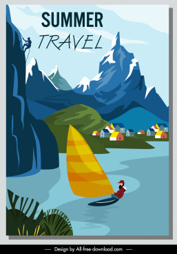 summer travel banner mountain lake sports sketch