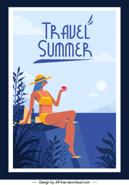 summer travel banner relaxing bikini girl sketch