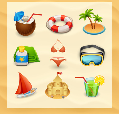 summer travel elements icons vector