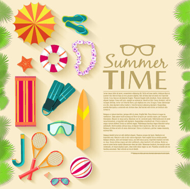 summer travel elements set vector background