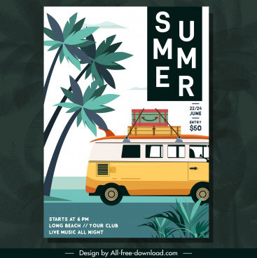 summer travel flyer classical design bus coconut sketch