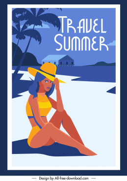 summer travel poster bikini girl seaside sketch
