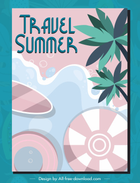 summer travel poster sea scene classic flat design