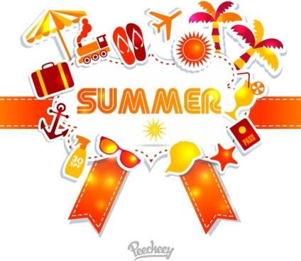 summer travel sticker icons