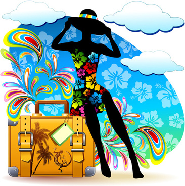 summer travel suitcase backgrounds vector