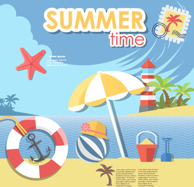 summer travel time creative background graphics