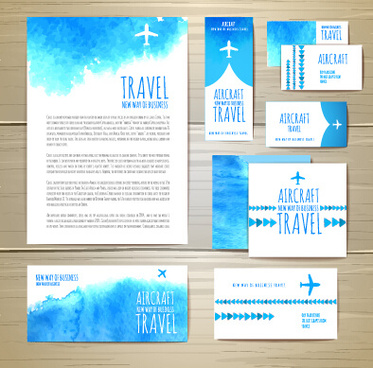 summer travel watercolor cards vector