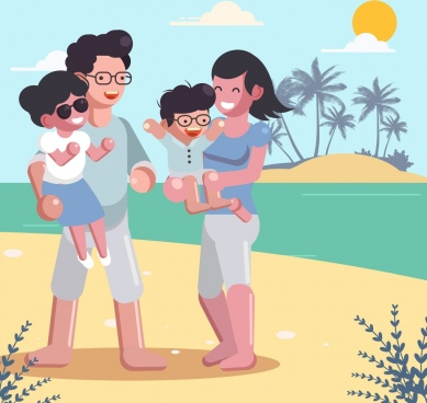 summer trip background joyful family sea icons decor