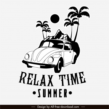 summer trip banner black white classic car sketch