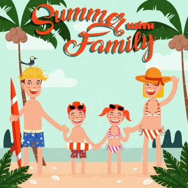 summer trip banner family beach icons colored cartoon