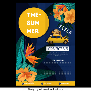 summer trip flyer template floral decor car sketch