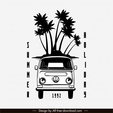summer trip poster black white retro bus sketch