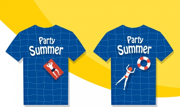 summer tshirt template swimming pool human icons decor