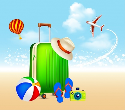 summer vacation background plane balloons baggage icons