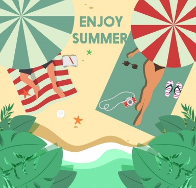 summer vacation background relaxed people seaside icons
